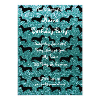 Cute turquoise dachshund glitter pattern cards
