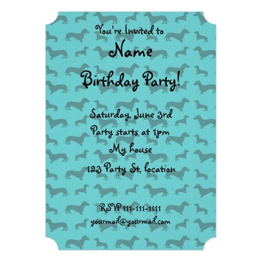 Cute turquoise dachshund pattern custom invitations