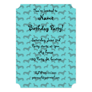 Cute turquoise dachshund pattern custom invitations