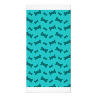 Cute turquoise dog bones pattern picture card