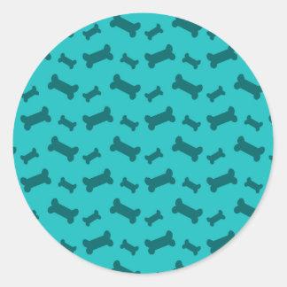 Cute turquoise dog bones pattern stickers