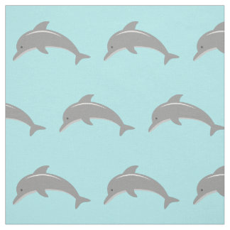 Cute turquoise dolphin pattern fabric DIY textile