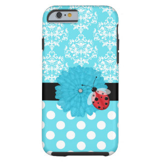 Cute Turquoise Floral with Ladybug iPhone 6 case