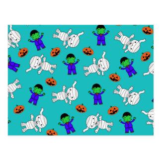 Cute turquoise Frankenstein mummy pumpkins Post Card