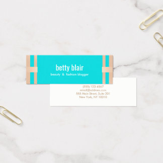 Cute Turquoise Gold Beauty Salon Mini Business Card