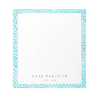 Cute Turquoise Lattice Pattern Notepad