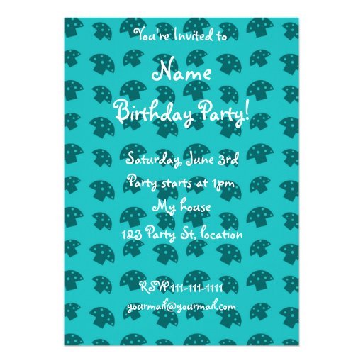 Cute turquoise mushroom pattern personalized announcements