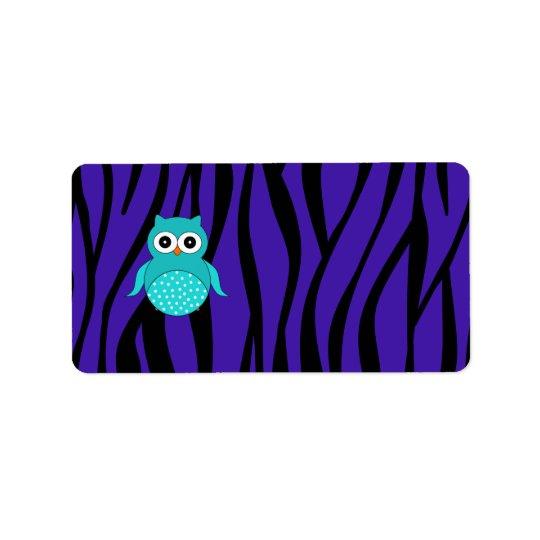 Cute turquoise owl purple zebra stripes label
