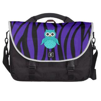Cute turquoise owl purple zebra stripes bag for laptop