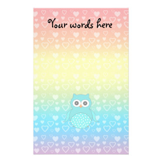 Cute turquoise owl rainbow hearts stationery