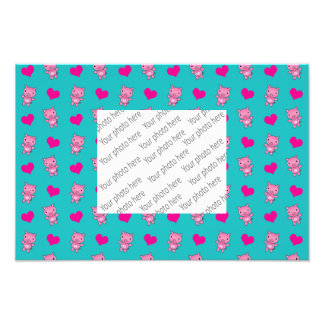 Cute turquoise pig hearts pattern photo print