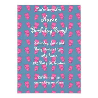 Cute turquoise pig pattern 13 cm x 18 cm invitation card