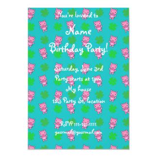 Cute turquoise pig shamrocks pattern 13 cm x 18 cm invitation card