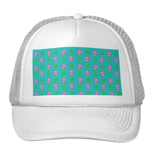 Cute turquoise pig shamrocks pattern mesh hat