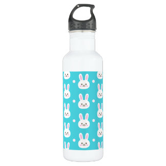 Cute turquoise white easter bunnies simple pattern 710 ml water bottle