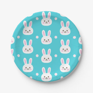 Cute turquoise white easter bunnies simple pattern 7 inch paper plate