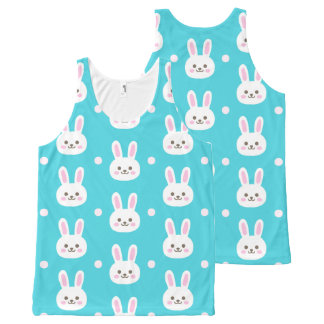 Cute turquoise white easter bunnies simple pattern All-Over print tank top