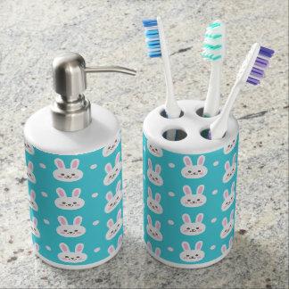 Cute turquoise white easter bunnies simple pattern bathroom set