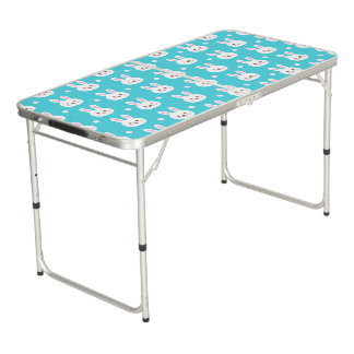 Cute turquoise white easter bunnies simple pattern beer pong table