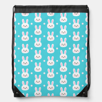Cute turquoise white easter bunnies simple pattern drawstring bag