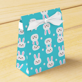 Cute turquoise white easter bunnies simple pattern favour box