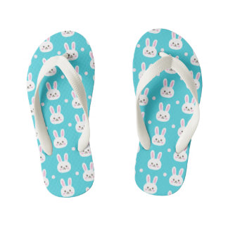Cute turquoise white easter bunnies simple pattern kid's thongs