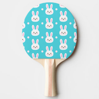 Cute turquoise white easter bunnies simple pattern ping pong paddle