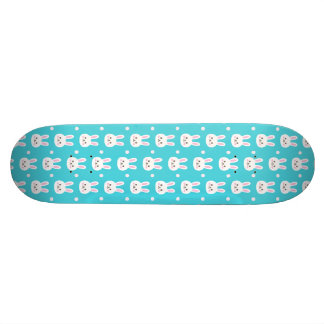 Cute turquoise white easter bunnies simple pattern skateboard deck