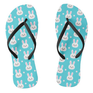 Cute turquoise white easter bunnies simple pattern thongs