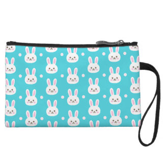 Cute turquoise white easter bunnies simple pattern wristlet