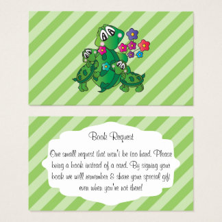 Cute Turtle Baby Shower Book Request Business Card