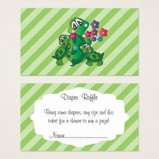 Cute Turtle Baby Shower Theme - Diaper Raffle Business Card