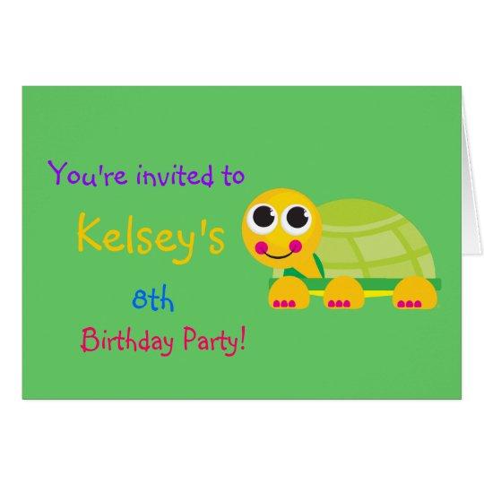 Cute Turtle Birthday Invitation