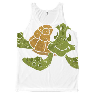Cute turtle cartoon. All-Over print tank top