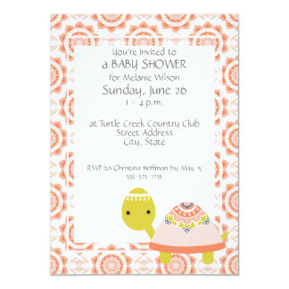Cute Turtle Girl's Baby Shower Invitations