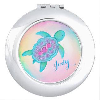 Cute turtle hearts shell art name mirror compact makeup mirror