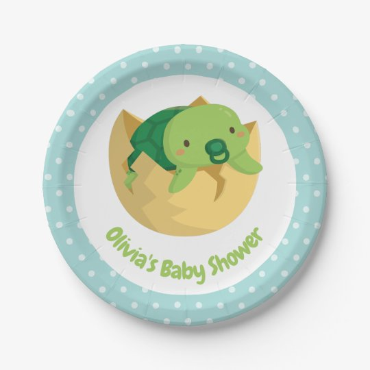 Cute Turtle In Egg Polka Dots Baby Shower Plates