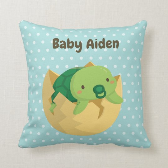 Cute Turtle Just Hatched Nursery Room Decor Pillow