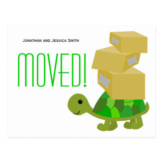 Cute Turtle Moving Boxes New Address Postcard