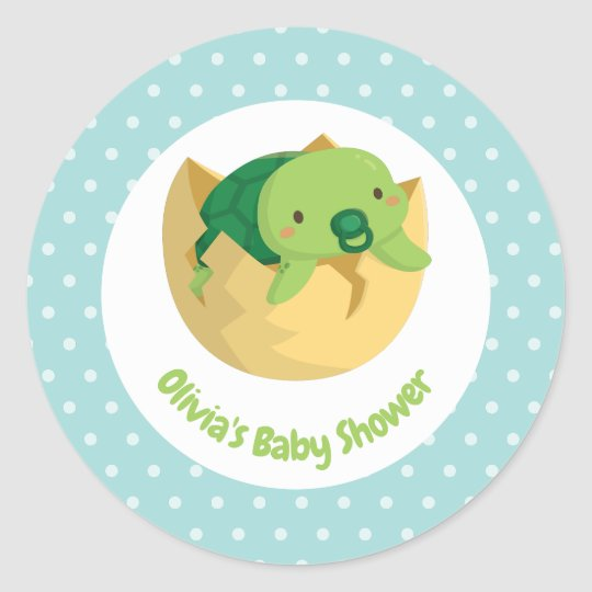 Cute Turtle Newly Hatched Baby Shower Stickers