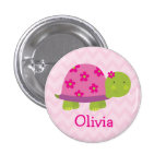 Cute Turtle Personalised Button for Girls