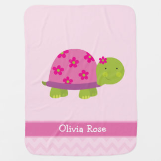 Cute Turtle Personalized Blanked for Girls Receiving Blankets