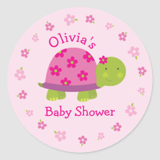 Cute Turtle Personalized Pink Sticker for kids
