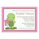 Cute Turtle Pink Polka Dot Baby Shower Custom Announcements