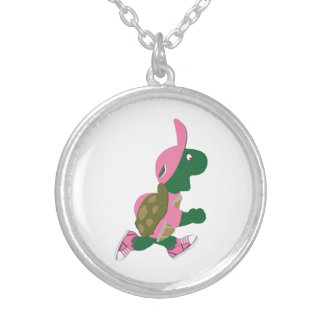 Cute Turtle Runner in PInk Silver Plated Necklace