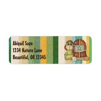 Cute Turtle with Baseball and Bat Return Address Label