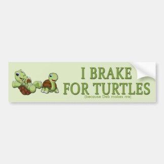 Cute Turtles - I Brake for Turtles Bumper Sticker