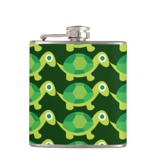 Cute Turtles Pattern Liquid Courage Flask