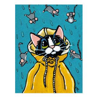 Cute Tuxedo Cat and Raining Mice Illustration Postcard