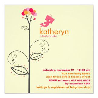 Cute Tweet Bird Hot Pink Baby Shower Invite